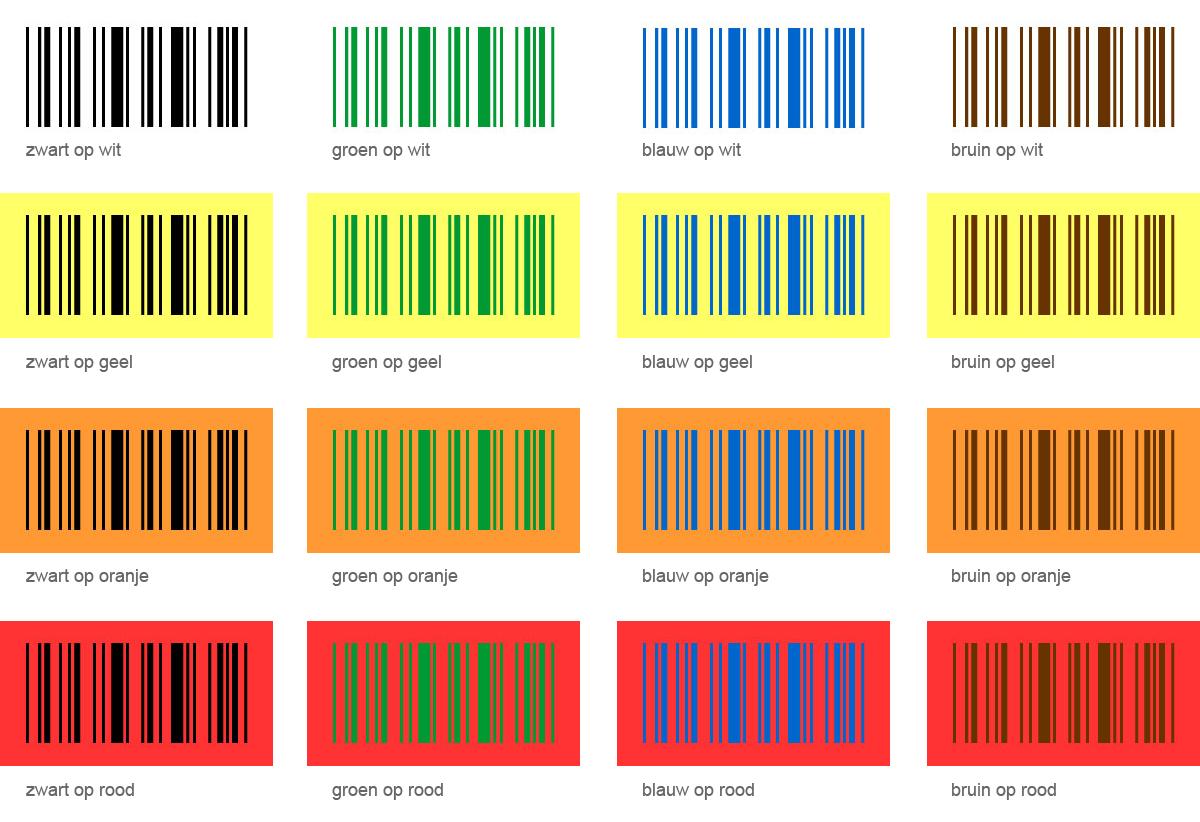 barcode kleuren combinaties