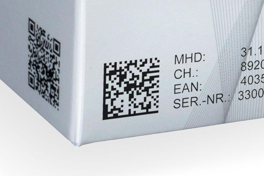 Data matrix code op een doos