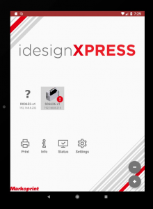 Screenshot Markoprint idesignxpress inkjet software mobile app